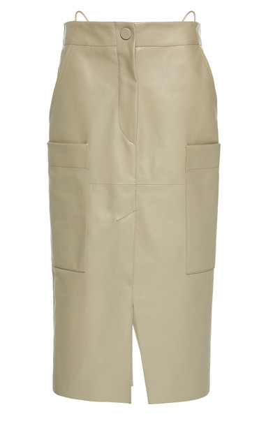 Petar Petrov Ria Leather Midi Skirt Size: 36 in white