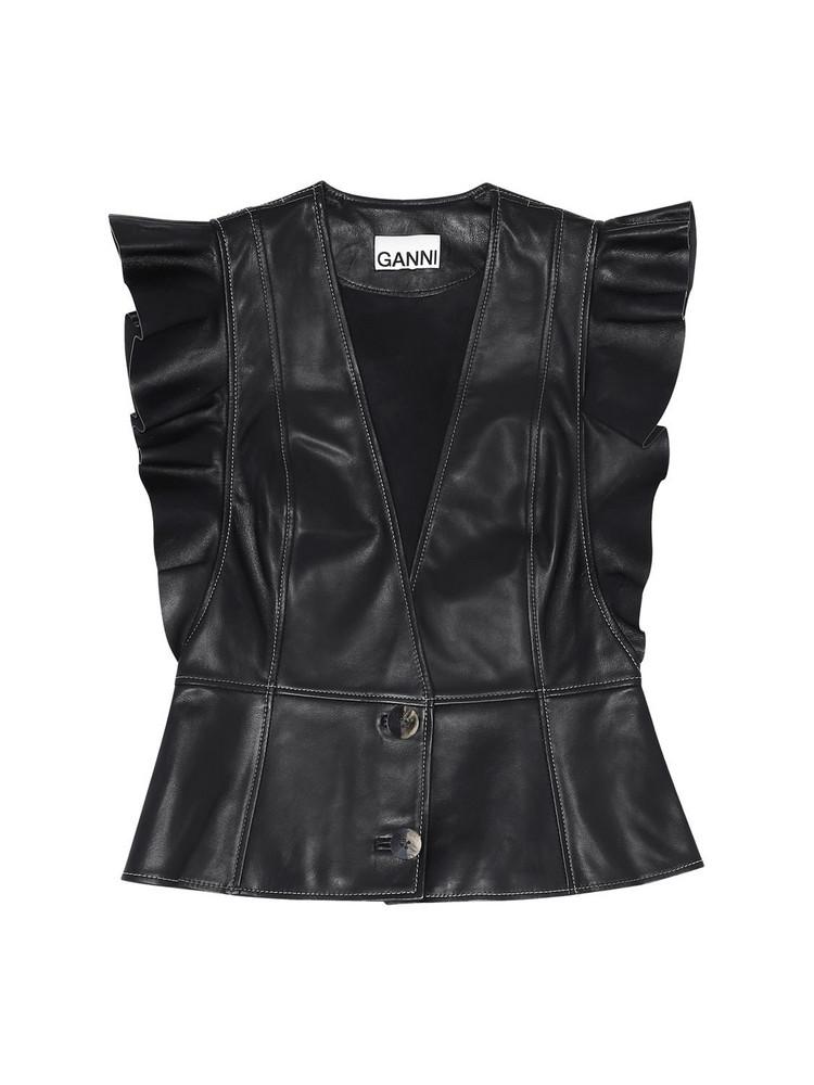 GANNI Ruffled Leather Vest in black