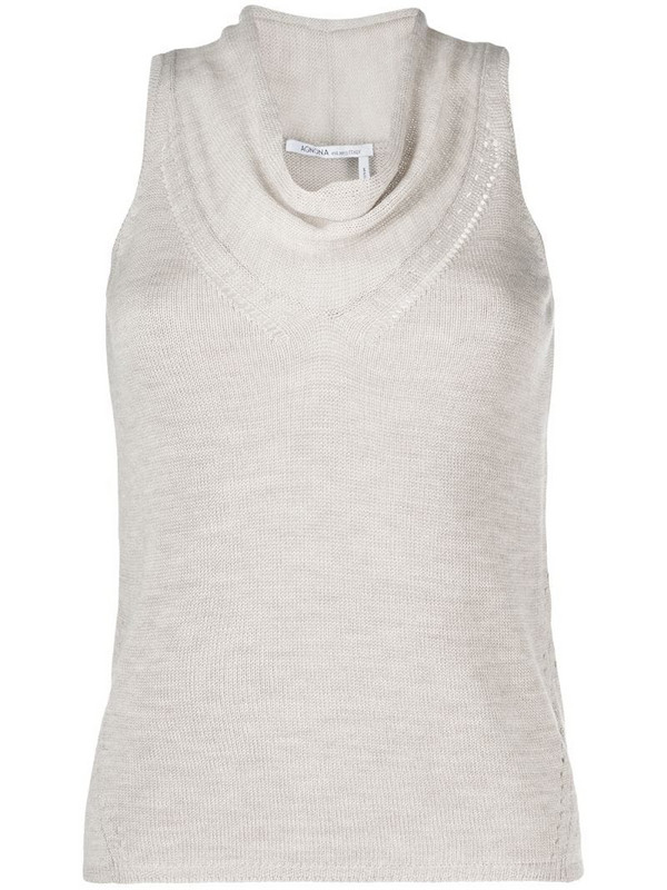 Agnona cowl-neck knitted tank top in neutrals