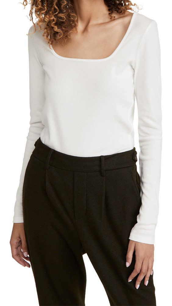 Vince Long Sleeve Square Neck Shirt in white
