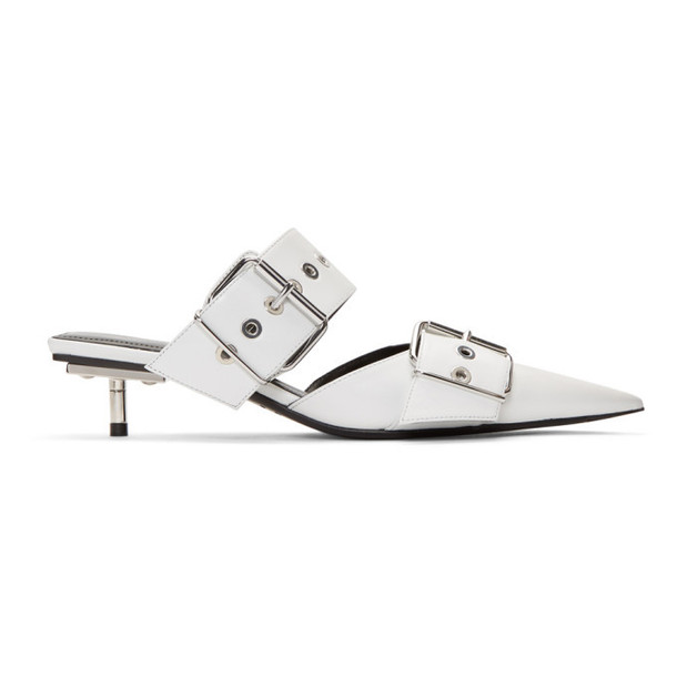 Balenciaga White Belt Mules