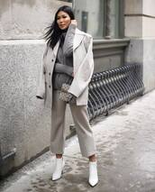 coat,grey coat,wool,grey pants,capri pants,white boots,ankle boots,gucci bag,turtleneck sweater,grey sweater