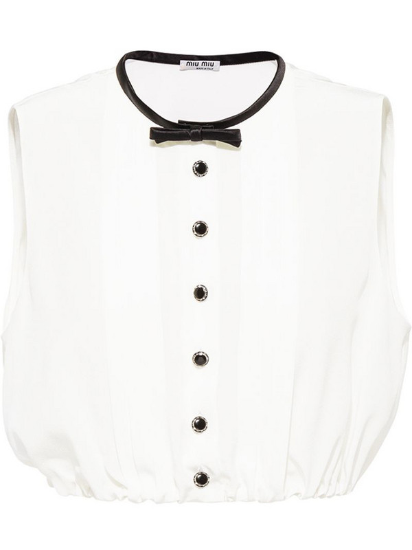 Miu Miu bow-detail cropped blouse in white
