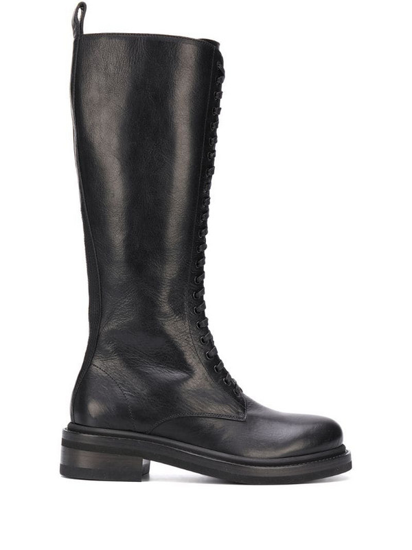 Buttero calf-length lace-up boots in black