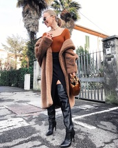 shoes,over the knee boots,heel boots,black boots,teddy bear coat,max mara,oversized coat,handbag,brown bag,midi skirt,black skirt,slit skirt,top,underwear,orange,sheer,tight,bodysuit,nipples,transparent