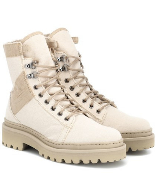 Balmain Canvas ankle boots in beige / beige