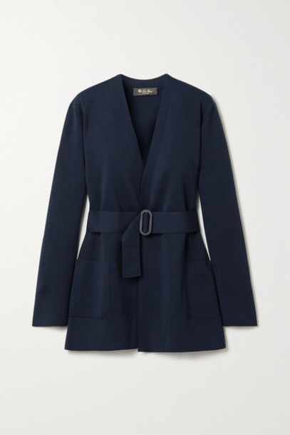 Loro Piana - Belted Silk And Cotton-blend Cardigan - Midnight blue