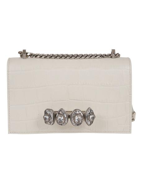 Alexander Mcqueen Jeweled Shoulder Bag in white