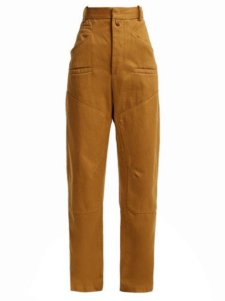 Isabel Marant Étoile - Driest High Rise Cotton Trousers - Womens - Camel