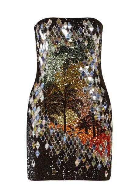 Balmain - Palm Tree Sequinned Mini Dress - Womens - Black Multi