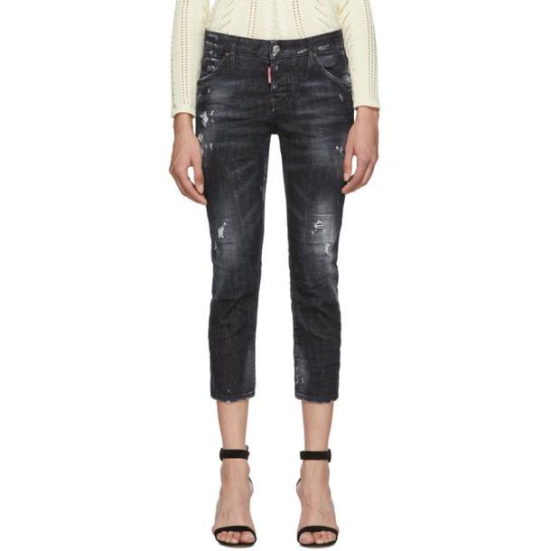 Dsquared2 Black Denim Good Girl Cropped Jeans