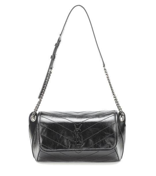 Saint Laurent Niki crinkled-leather belt bag in black