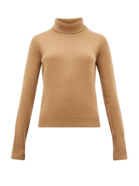Joseph - Slashed Cuff Cashmere Roll Neck Sweater - Womens - Camel