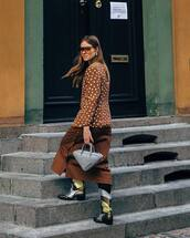 bag,grey bag,balenciaga,knee high boots,cowboy boots,midi skirt,brown skirt,blazer,sunglasses
