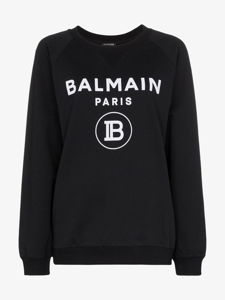 Balmain logo-print cotton jumper