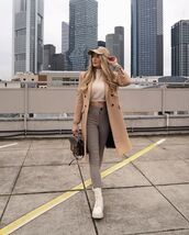 pants,high waisted pants,skinny pants,white boots,long coat,bag,cropped sweater,cap