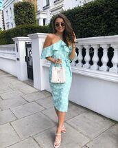 dress,midi dress,polka dots,off the shoulder dress,white sandals,elegant dress,white bag,chanel bag