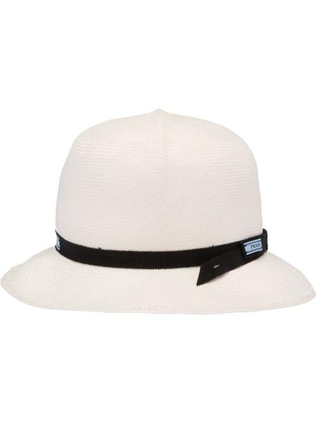 Prada foldable straw hat in white