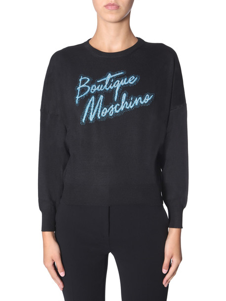 Boutique Moschino Crew Neck Sweater in nero