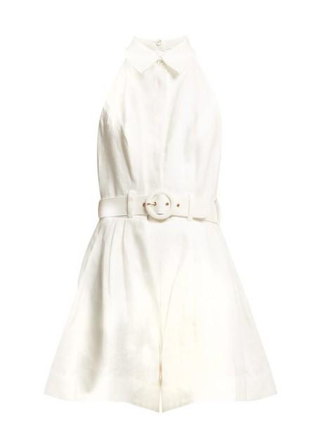 Zimmermann - Primrose Belted Linen Jumpsuit - Womens - Ivory