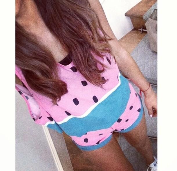 jumpsuit melon ariana grande t-shirt top