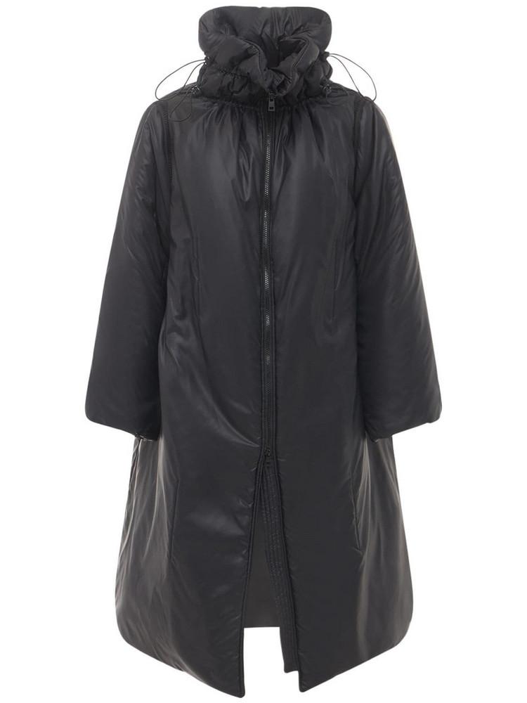 RED VALENTINO Long Padded Nylon Caban Jacket in black