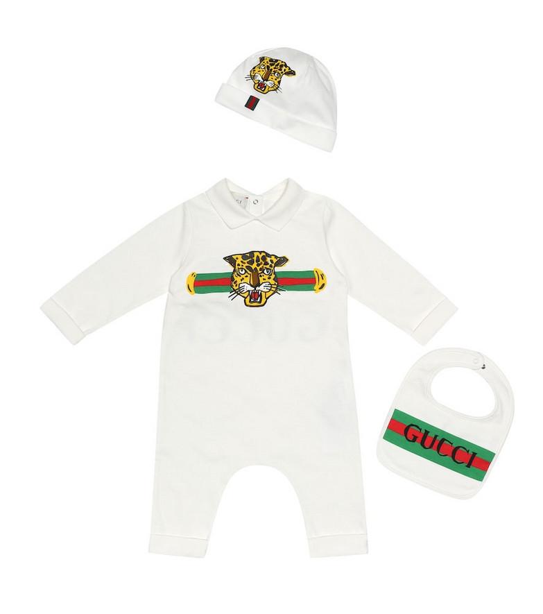 Gucci Kids Cotton onesie, hat and bib set in white