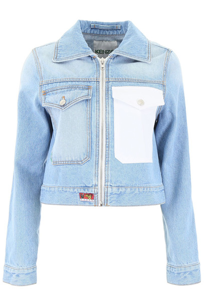 Kenzo Denim Jacket With Rose Embroidery
