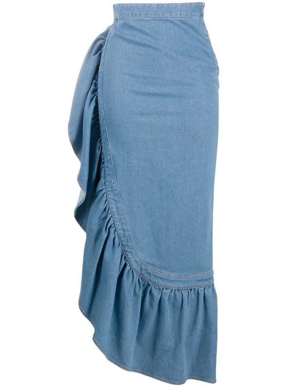 Just Cavalli long ruffled skirt in blue