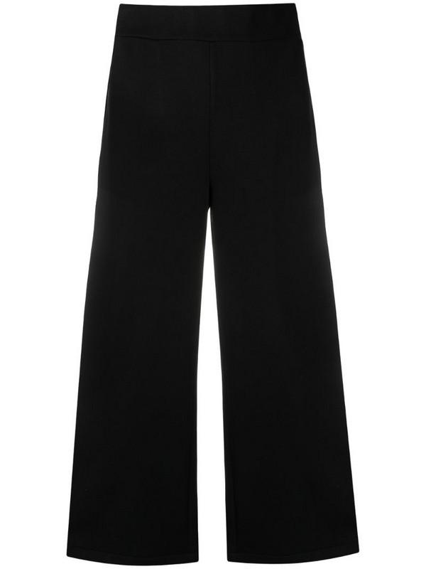 Karl Lagerfeld logo tape cropped trousers in black