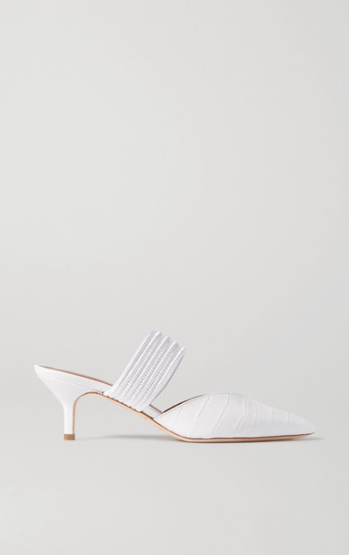 Malone Souliers - Maisie Cord-trimmed Croc-effect Leather Mules - White