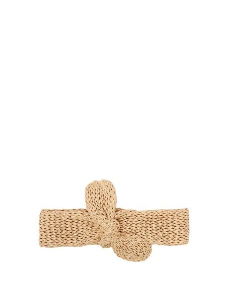 Reinhard Plank Hats - Top Bow Raffia Knit Hairband - Womens - Beige