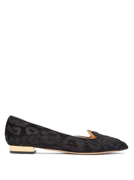 Charlotte Olympia - Kitty Leopard Jacquard Devore D'orsay Flats - Womens - Black