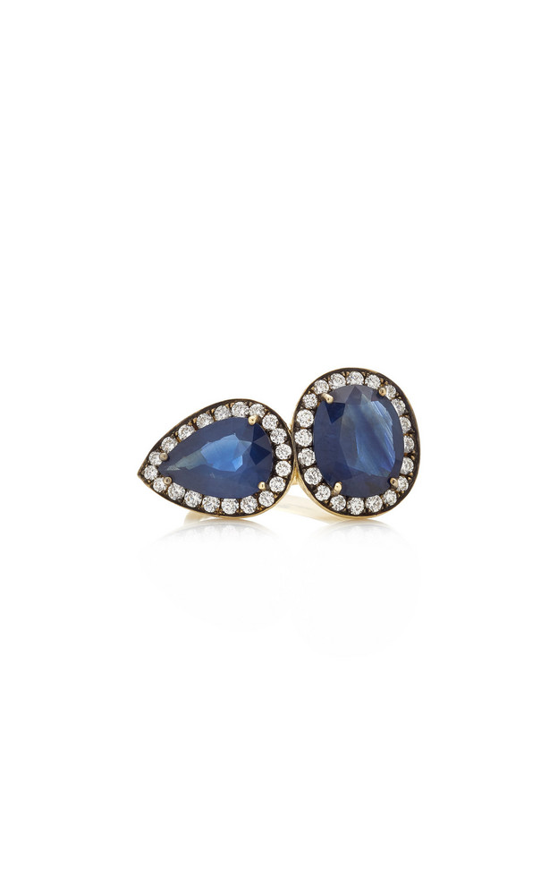 Sylva & Cie Sapphire, Diamond 18K Yellow Gold Ring in blue