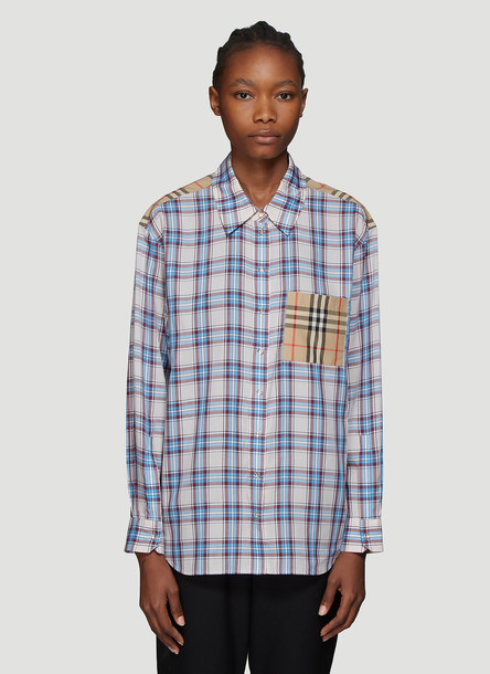 Burberry Contrast Check Print Shirt in Blue size UK - 12