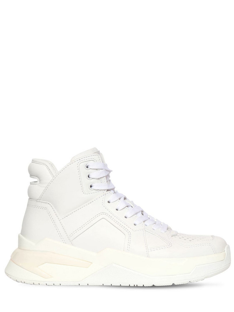 BALMAIN 30mm B Ball Leather Sneakers in white