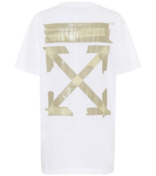 Off-White Oversized printed cotton T-shirt in white