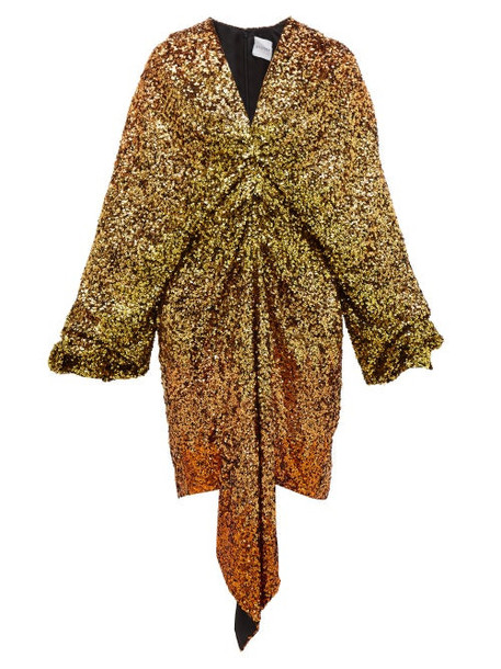 Halpern - Gathered Dégradé Sequin Dress - Womens - Gold