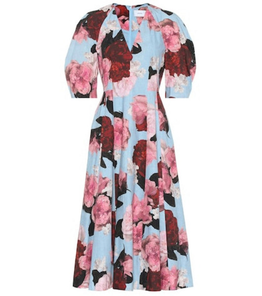 Erdem Exclusive to Mytheresa – Cressida floral cotton-poplin dress in blue