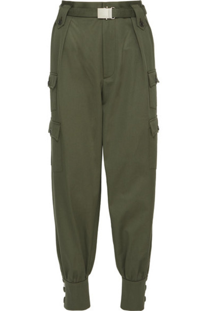 Miu Miu - Belted Cotton-gabardine Tapered Pants - Army green