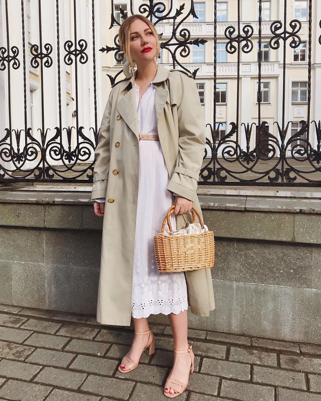 coat trench coat sandal heels midi dress lace dress white dress handbag belt