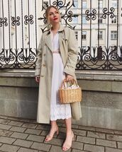 coat,trench coat,sandal heels,midi dress,lace dress,white dress,handbag,belt
