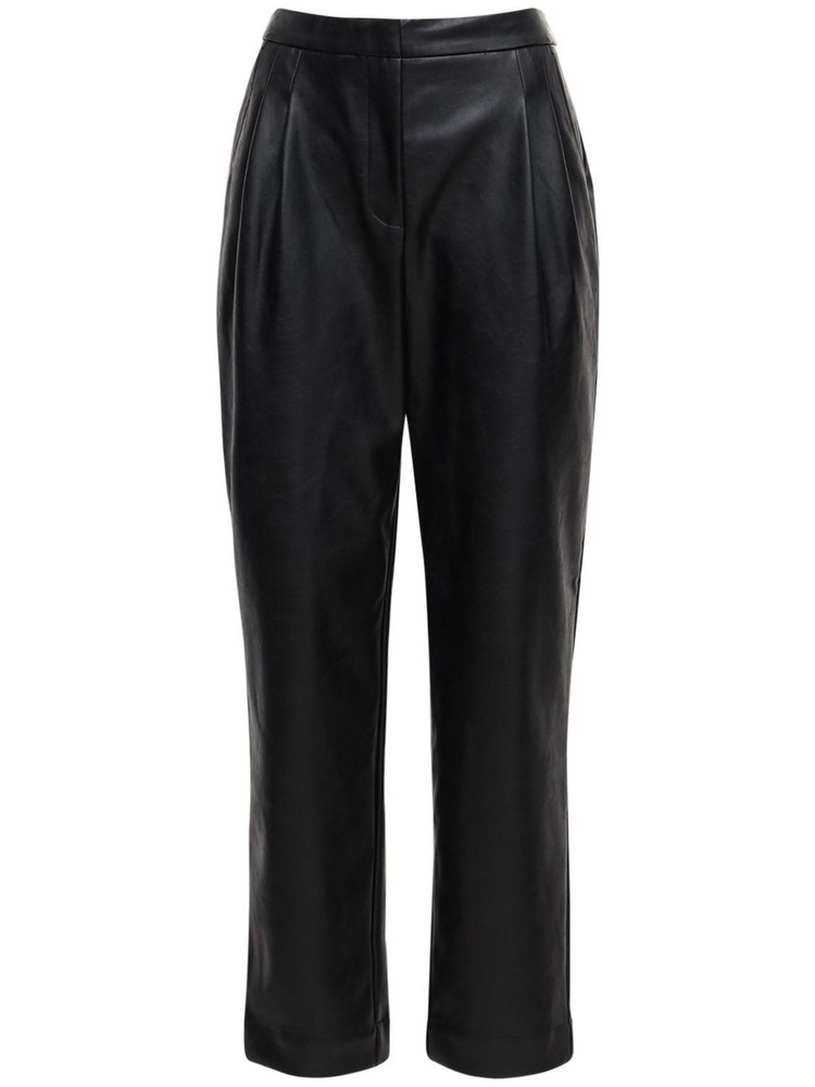 DESIGNERS REMIX Marie Pleated Faux Leather Pants in black