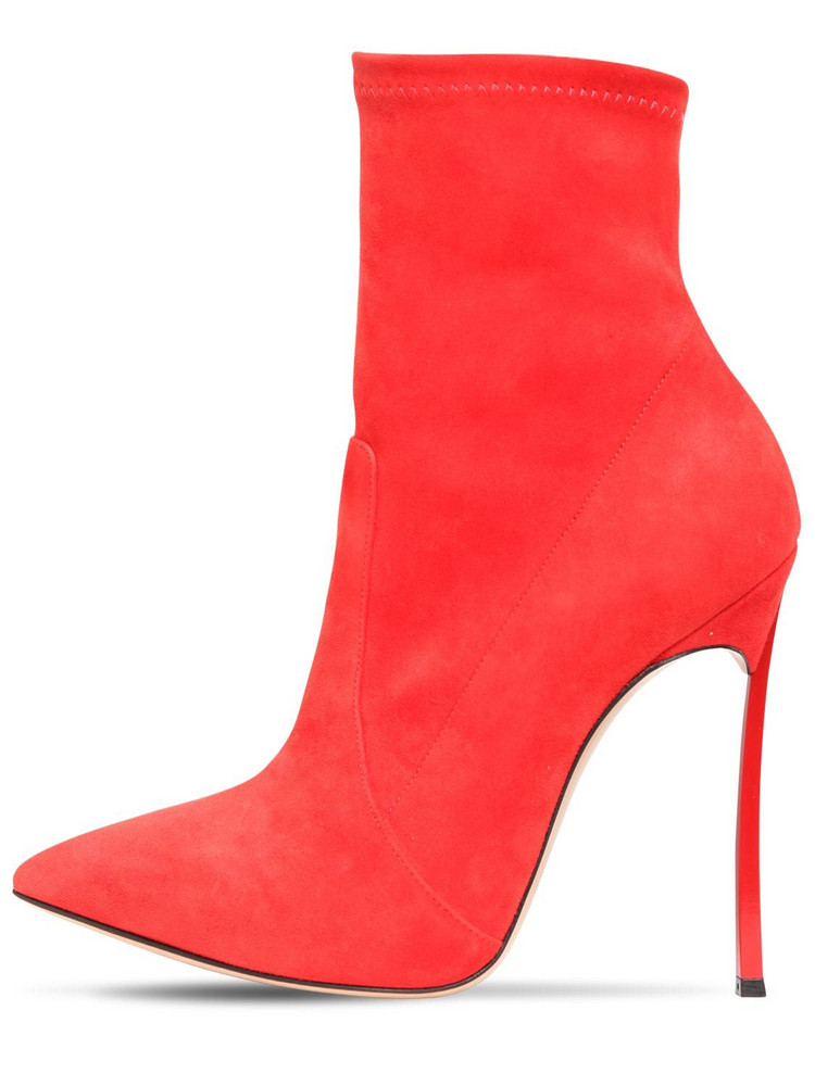 CASADEI 120mm Blade Stretch Suede Ankle Boots in red