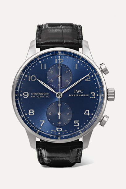 IWC SCHAFFHAUSEN - Portugieser Chronograph Automatic 41mm Stainless Steel And Alligator Watch - Black