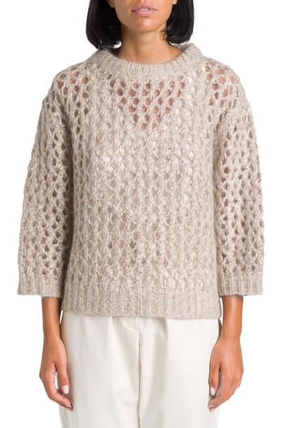 Brunello Cucinelli Wide-net Effect Knitted Sweater in beige