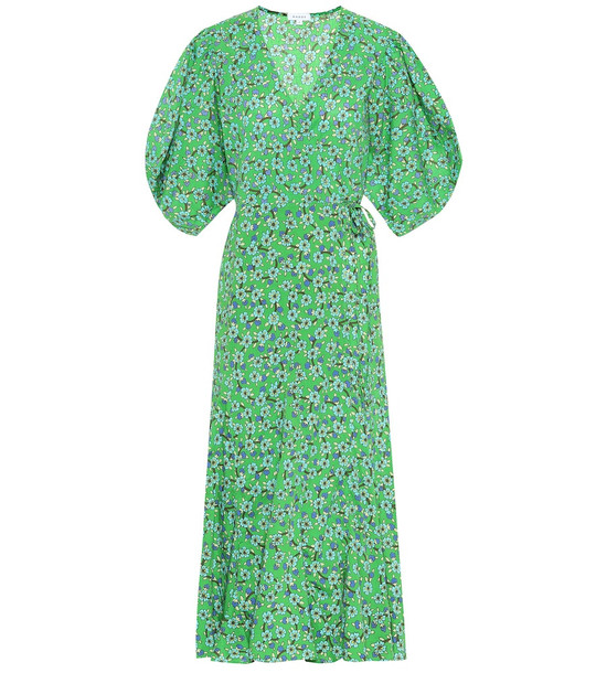 RHODE Fiona floral cotton wrap dress in green