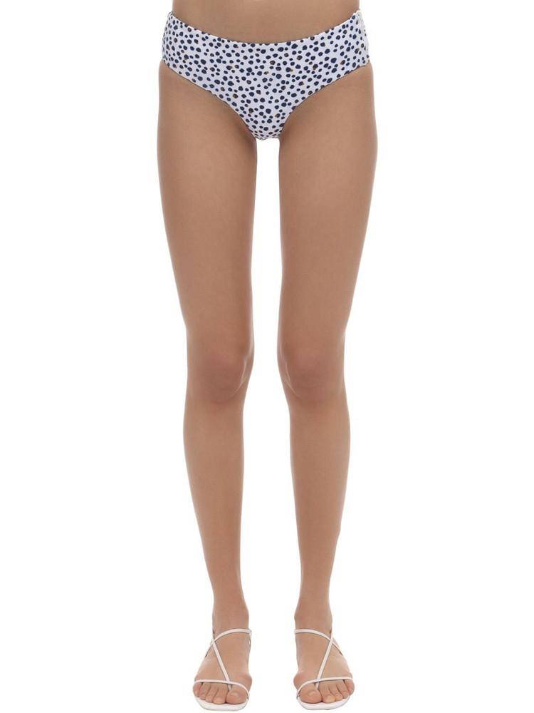 DOS GARDENIAS Rosebud Zipper Lycra Bikini Bottoms in blue / white