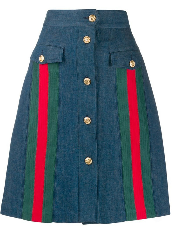 Gucci A-line denim skirt in blue