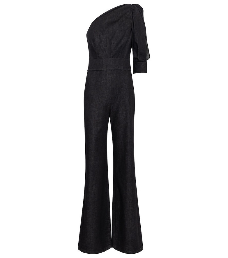 Safiyaa Gia stretch-denim jumpsuit in blue